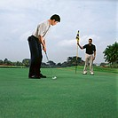 Two men playing golf (thumbnail)