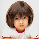 Indian baby girl 3 years wearing a wig