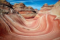 'The Wave', swirling sandstone formation. Paria Canyon-Vermilion Cliffs Wilderness. Arizona, USA