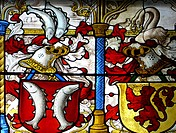 Detail of stained-glass windows inside the Cathedral. Cologne. Germany