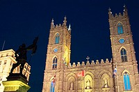 Notre-Dame Basilica in Old Montreal at night