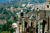 Ruins of old Greek theatre rebuilt in Roman times. Taormina. Sicily, Italy