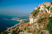 Giardini-Naxos bay, view from Monte Tauro at Taormina. Sicily, Italy