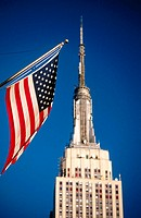 American flag and Empire State building, New York City. USA
