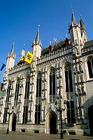 ´Stadhuis´ (town hall) in Burg square. Brugge. Flanders, Belgium