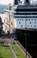 Cruise ship crossing Miraflores locks. Canal de Panama. Panama