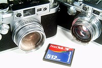 Leica cameras and flash card for digital camera