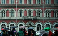 bad weather, building, construction, Corso Matteotti, Italy, Europe, passerby, Piedmont, pupil, rains, screens, Tori