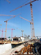 armouring iron, building, building site, buildings, Construction, constructions, crane, cranes, house construction,