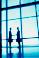 Silhouette of two businessmen shaking hands