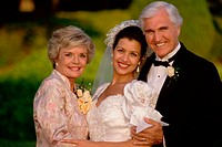 Bride with her father and mother