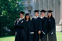 Portrait of a group of students wearing graduation outfits (thumbnail)