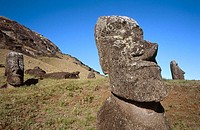Moais at Rano Raraku. Eastern Island, Chile
