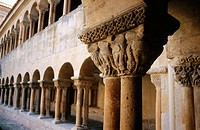 Romanesque capitals in cloister of Monas, Santo Domingo de Silos Benedictine monastery (11-12th centuries). Burgos province, Spain