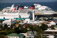 Bahamas, New Providence Island, Nassau: City View and Cruiseships from Water Tower