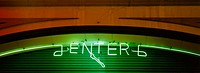 Neon sign on parking garage at night. San Francisco. California. USA