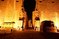 The Luxor Temple entrance at night. Luxor, Egypt