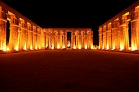 View of columns surrounding courtyard. Luxor, Egypt