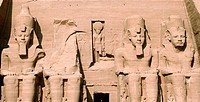 Four statues of Ramses II depicting four stages of his life. Abu Simbel, Egypt