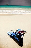 Snorkel gear on the beach of St Barts. Saline Beach. St. Barts