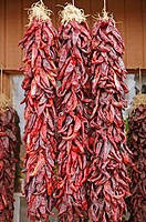 Dried chiles. Taos, New Mexico. USA