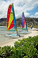 Hobie-cat on the beach of St. James Club, Antigua