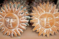 "Terracotta ""sun faces"". Taos, New Mexico. USA"