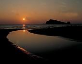 italy, puglia, portonuovo in sunset, gargano