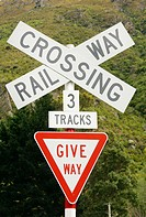 Rail way crossing. New Zealand
