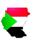 map and flag of Sudan