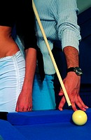 Flirt at pool table (thumbnail)