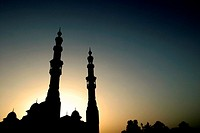 Silhouette of a mosque at sunset, Dubai, United Arab Emirates
