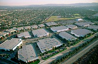 Aerial of industrial business parks. Baldwin Park, California, USA