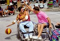 Wheelchair basketball Gus Macker tournament where 3 on 3 play against each other