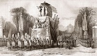 Napoleon's Funeral, Paris, 15 December 1840. Louis Napoleon Bonaparte, 1769-1821. Emperor of France. 19th century lithograph by Em. Baerentzen & Co. a...