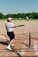 Senior Olympics: male participates in the T-softball hitting contest