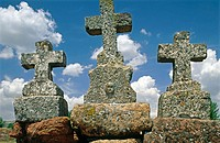 Remains of 'Via-crucis' in the road to the church of Santa Coloma. Albendiego. Guadalajara province. Castilla-La Mancha. Spain
