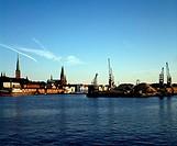 Lübeck, Altstadt/ Blick von Norden auf Altstadt und Hafen