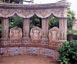 Lumiar bei Lissabon, Barockgarten Quinta dos Azulejos, Mitte des 18. Jahrhunderts/ Gekachelte Sitzbank