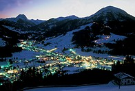 austria, kirkberg, landscape of the town by night