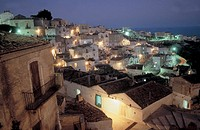 italy, puglia, monte sant´angelo, panorama by night