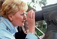 woman, binoculars, camogli, liguria, italy