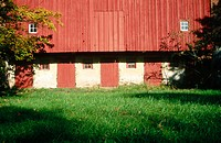 Historic red barn built in 1700's. Bucks County, Pennsylvania, USA