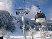 Samoens ski area in French Alps. Lift. Telecabines