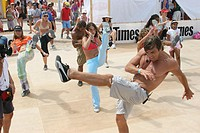 Brazilian aerobics class. Sport and Fitness Festival. Lummus Park. Miami Beach. Florida. USA.