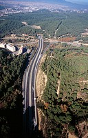 Aerila view of freeway, Sabadell. Barcelona province, Catalonia, Spain