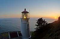 Heceta Head Lighthouse, Oregon Coast, USA. Shot at sunset, this is an angle not usually seen