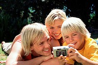 Family taking photographs