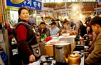 Food vendor, Dongdaemon market. Seoul, South Korea