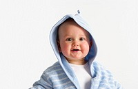 Baby portrait in bathing wrap